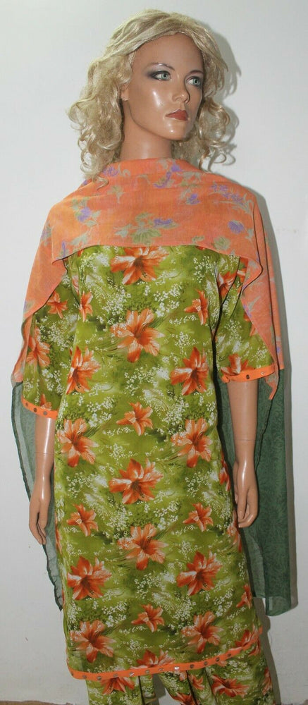 Green Floral Print Ready to Wear Salwar Kameez  chest 46   Fast ship New