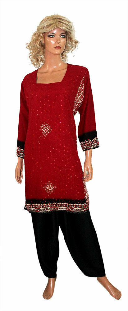 Red Black HIjab salwar kameez Ready to Wear Suit Islamic Clothing 3 Pieces