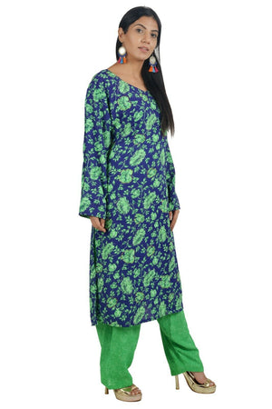 Green  Designer  Crepe  Indian  Salwar kameez Chest size 44  Fast ship  5 day