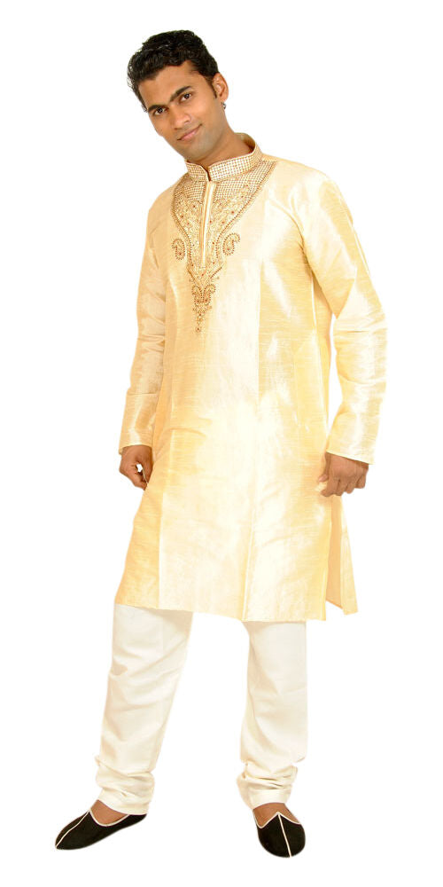 Exclusive Gold Men's Kurta Salwar with Matching Beads Shawl | Ethnic Gold Men's Kurta Salwar