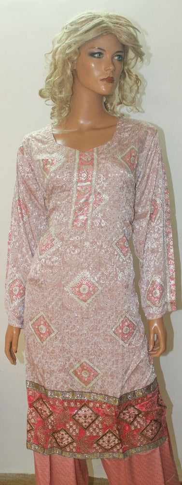 Load image into Gallery viewer, Pink Block  Print  Suit  Salwar kameez Chest  size 46 Boutique New designs