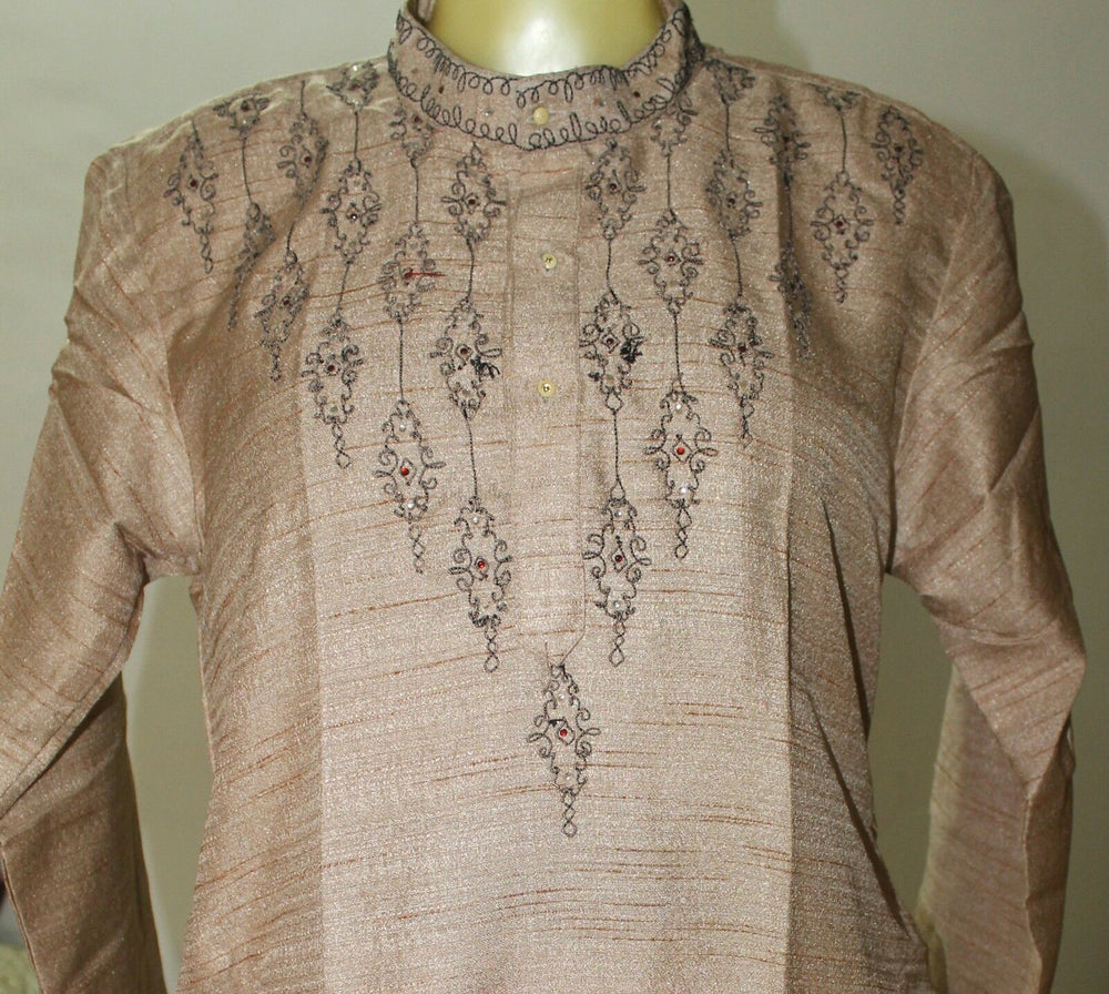 Brown Embroidered  Indian   Boys kurta Pajama set Size  Age 1 ,2,4,8,&10