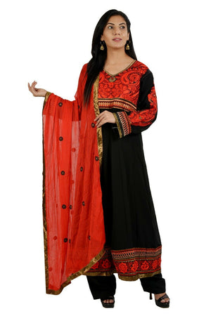 Black Red Anarkali Salwar kameez Kurta Chest  size 48  Fast shipping 5 day