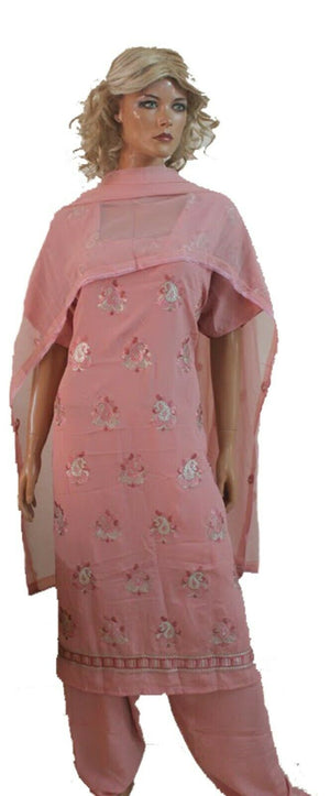 Light Pink  Crepe Embroidered  salwar kameez Plus size 56 Boutique New arrivals