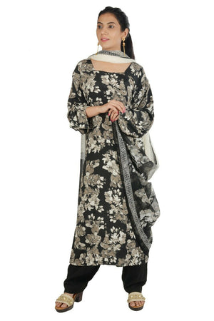 Black Crepe Floral Print Salwar Kameez plus size 48 Fast shipping within 6 day