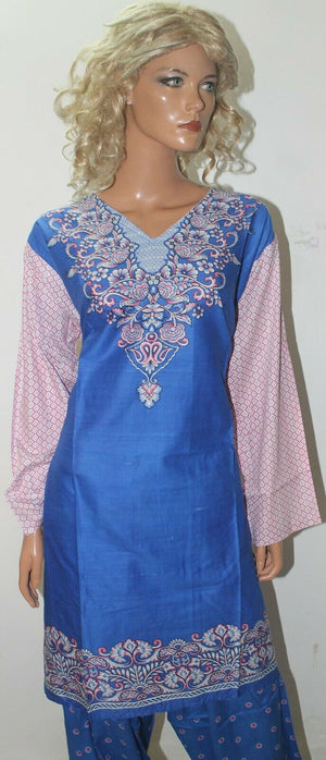 Blue Floral  Print Cotton Summer  Kurta with Dupatta & Trousers Plus size 54