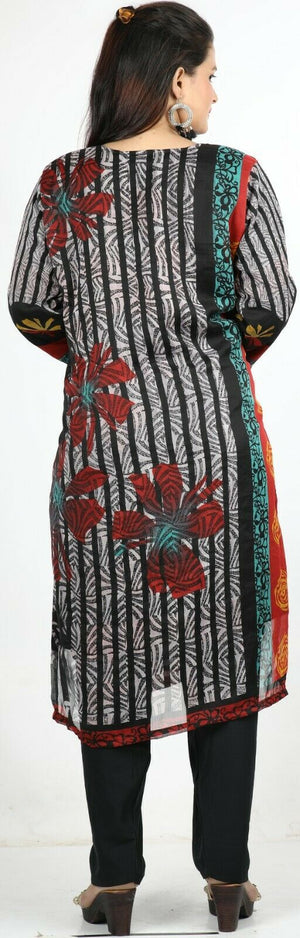 Black Floral Print Summer Salwar Kameez Plus chest 50 Full sleeve Fast ship New