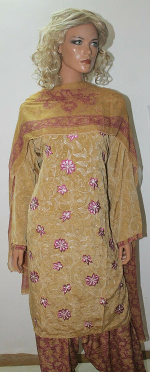 Beige Embroidered  Soft Crepe Salwar kameez  Plus size 50 Boutique New arrivals