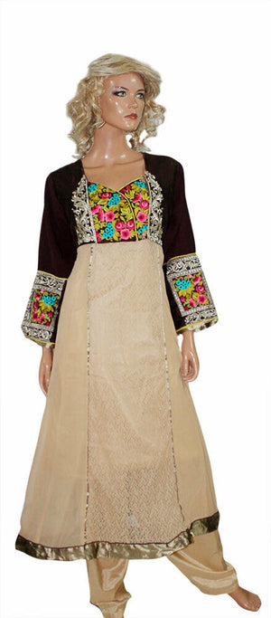 Load image into Gallery viewer, Tan Ready To Wear  Exclusive Pakistani Embroidered  Designer Anarkali Dress