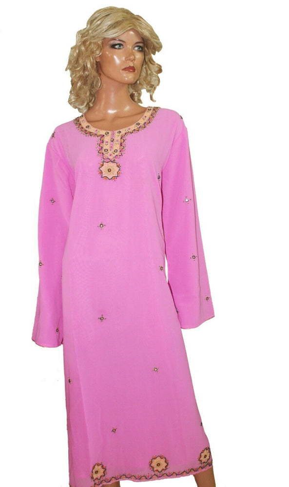 Load image into Gallery viewer, Pink  Long Kurta Top Free dupatta Two pieces Chest size 44