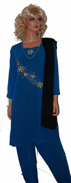 Blue salwar kameez Chest 38 small  fast ship in 3 day ready to wear stitched