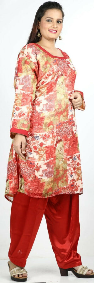 Red Floral Print Summer Salwar Kameez Plus chest 52 Full sleeves Fast ship New