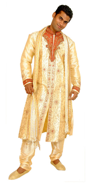 Load image into Gallery viewer, Designer Gold Men's Sherwani with Matching Beads Shawl | Ethnic Gold Men's Sherwani