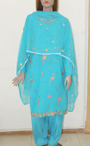 Load image into Gallery viewer, Blue 1  Embroidered wedding party Designer salwar kameez Frenc crepe Plus sz 50