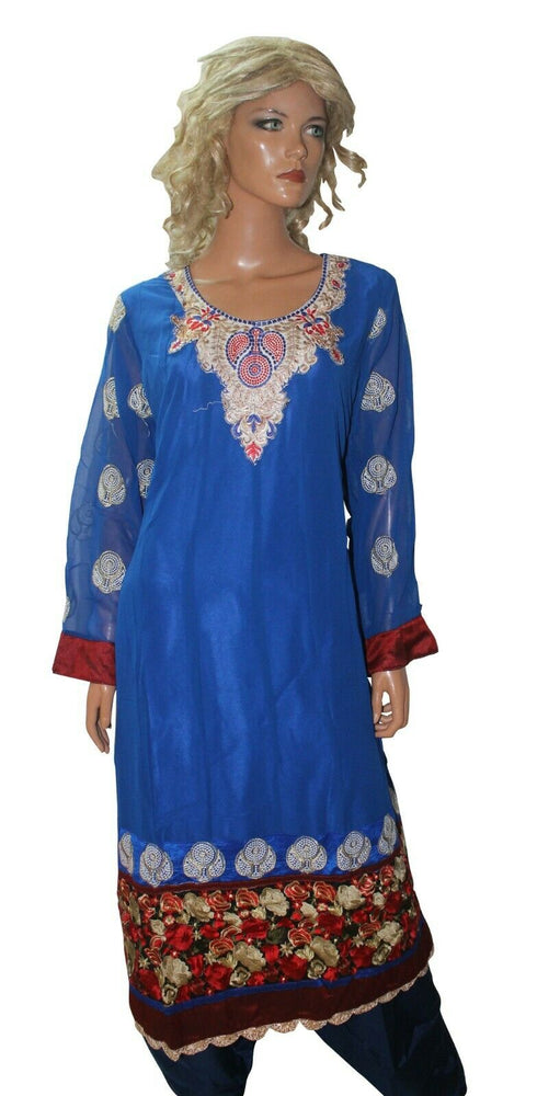 Blue  Designer Ready Made Salwar Kameez  chest 46 Full  sleeves Fast ship New