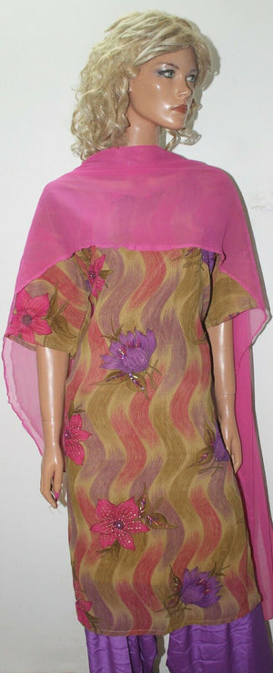 Purple Crepe  Stitched Bollywood wedding  Designer salwar kameez Plus sz 52