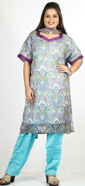 Blue  Floral Print Summer Salwar Kameez Plus chest 54 Stitched Ready to Wear New