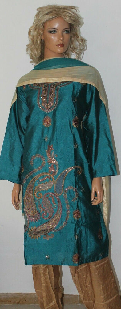 Teal silk Embroidered Wedding Party Ready Wear  Salwar kameez dress Plus size 52