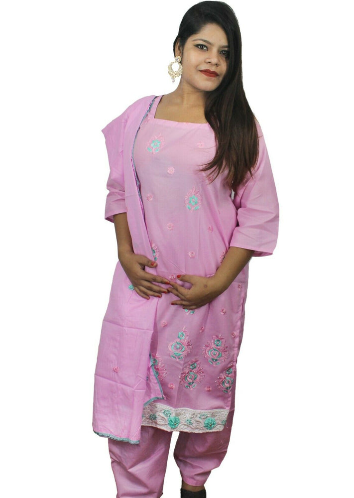 Pink  Designer Salwar kameez Kurta Dupatta Full Sleeves  Chest  Plus size 44