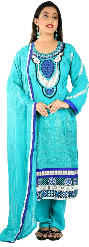 Blue Wedding Party  Salwar kameez Kurta Dupatta Stitched  Chest  Plus size  50