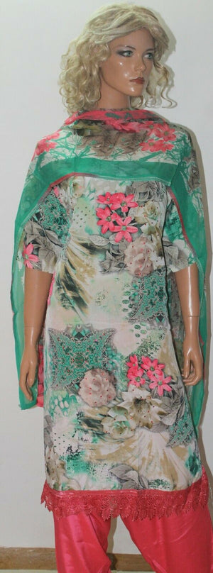 Green  Stitched Floral Print  Salwar kameez  Plus size 60 Boutique New arrivals