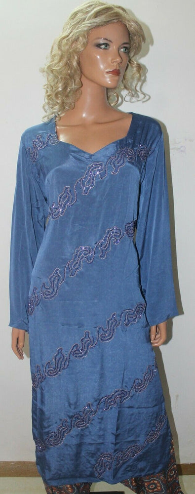 Blue Hand Beads  Crepe High quality  Collections  Salwar kameez Chest Size 50