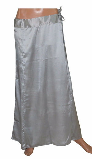 Load image into Gallery viewer, Silver  Satin Indian sari Petticoat Underskirt belly dancing  slip New Arrivals