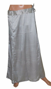Silver  Satin Indian sari Petticoat Underskirt belly dancing  slip New Arrivals