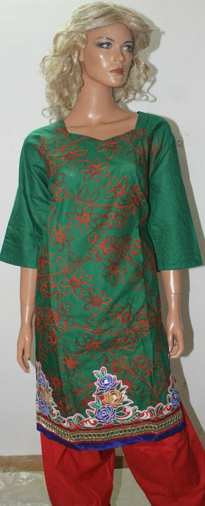 Green Red Floral Print Designer Soft Cotton Suit  Salwar kameez  Plus size 56