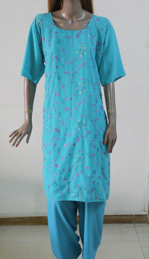 Blue .0165  Embroidered wedding party Designer salwar kameez Chiffon  Plus sz 52
