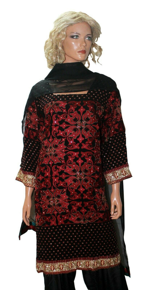 Load image into Gallery viewer, Black  Designer Party Wear  Dress Salwar kameez Plus  chest size 52