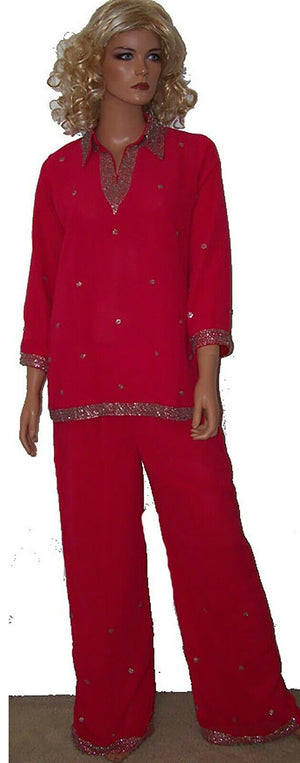 Load image into Gallery viewer, Hot Pink Girls Palazzo set Designer  Salwar kameez Chest  Size 36  3 pieces
