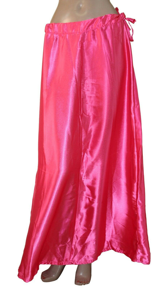 Load image into Gallery viewer, Pink satin Sari saree Petticoat Underskirt slip
