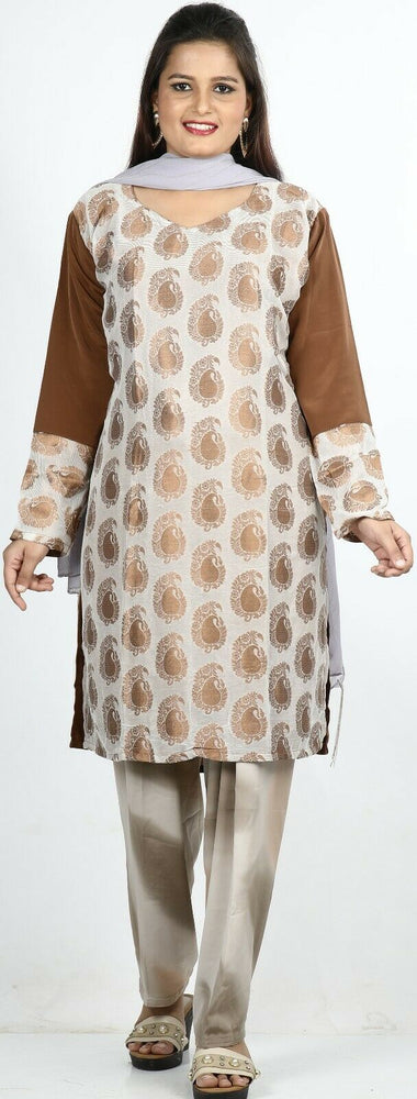 Brown Print Summer Salwar Kameez Plus chest 50 Stitched Ready to Wear New