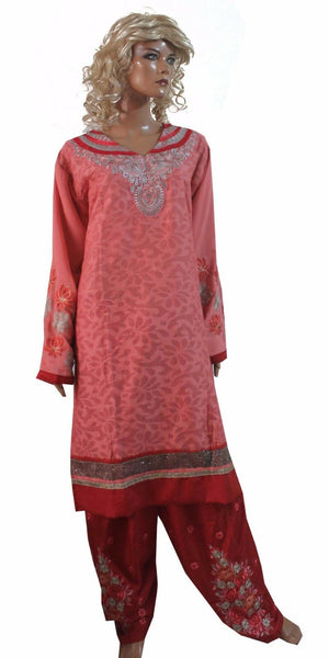 Load image into Gallery viewer, Melon Red Cotton  Salwar Kameez Plus size 52  New arrivals
