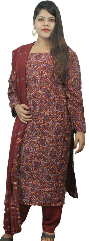 Burgundy  Designer Salwar kameez Kurta Dupatta Full Sleeves Chest  Plus size  50