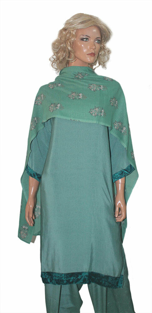 Green Soft Crepe Designer  salwar Kameez  Chest size 52