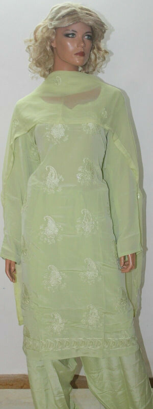 Green Embroidered crepe  Ready to wear Stitched  Salwar kameez  Plus size 50