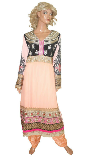 Peach Designer Wedding Ready Wear Salwar Kameez  chest 52  Full sleeves Anarkali