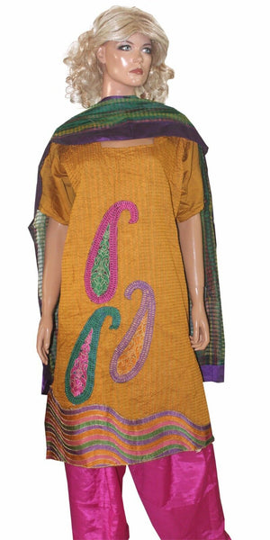 Yellow Pink   Designer Cotton   Salwar kameez Plus Size 52  New Arrivals Ap22