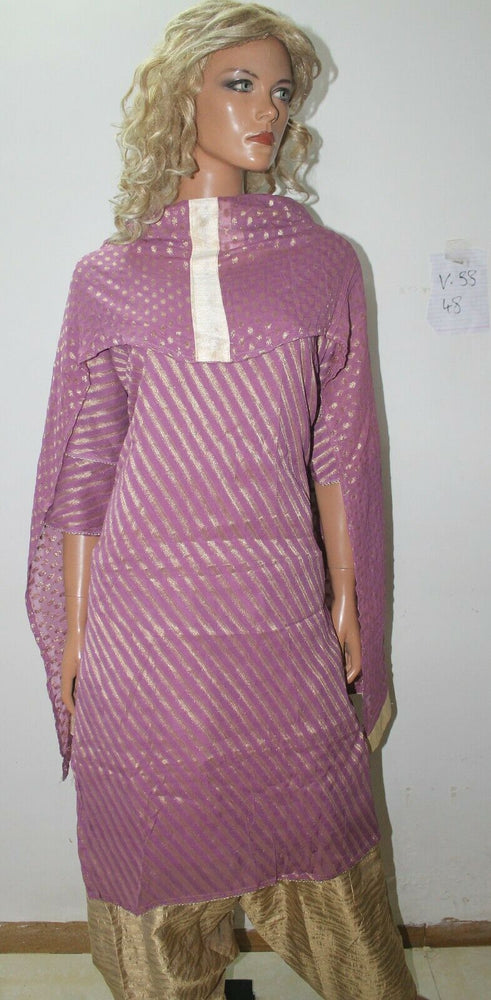 Load image into Gallery viewer, Purple  Print Ready Wear Salwar Kameez  chest 48  Shor sleeves Fast ship New