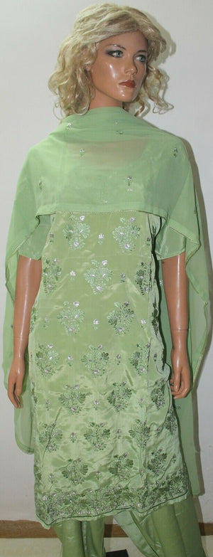 Pistachio  Green Embroidered Crepe  Wedding  Salwar kameez Chest Plus Size 56