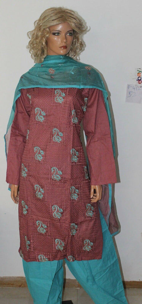 Load image into Gallery viewer, dusty pink blue  Cotton Designer Wear By Manha Patel Dress chest size 52