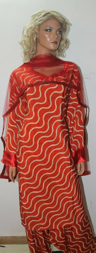 Red Zak Print  Soft Crepe Salwar kameez  Plus size 56 Boutique New arrivals