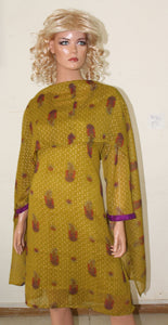 Mustard N46 Indian Clothing Women kurta tunic Dress Free Dupatta Plus Size 52