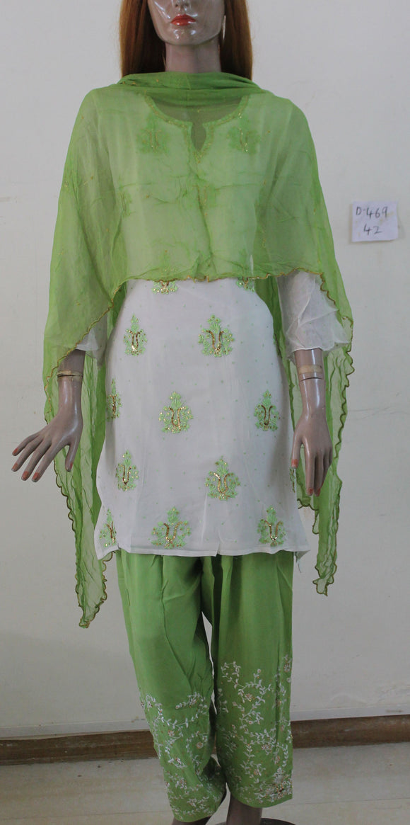 Cream Green Salwar kameez Chest size 42, Party Wedding Indian wear D469