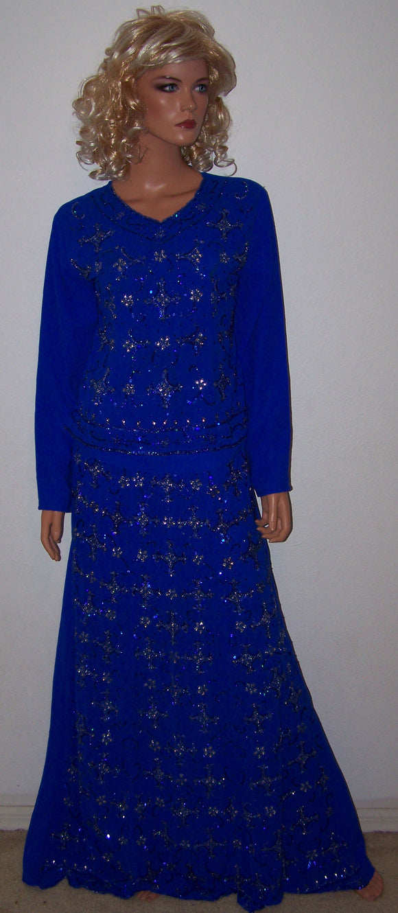 Blue Crepe Women India Lehanga Choli Dress Indian Outfit Size 38