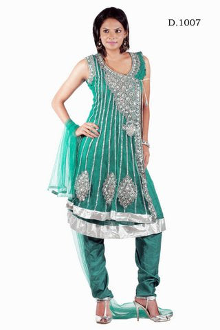 Load image into Gallery viewer, Green Designer Net Anarkali Churidar