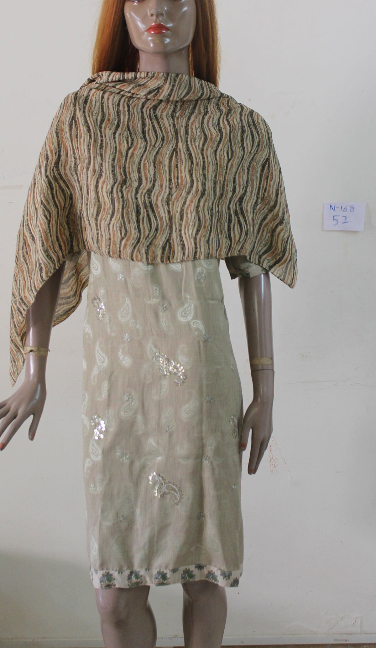 Gray Exclusive wedding party wear Kurta Top N168 Chiffon Plus size 52
