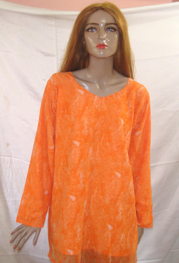 Orange Print Indian Long Kurta